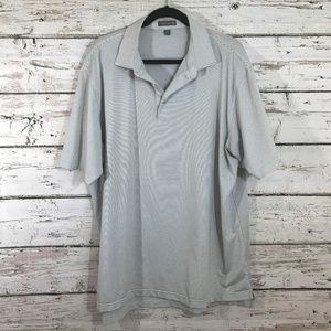 Peter Millar White Black Striped Collar Shirt